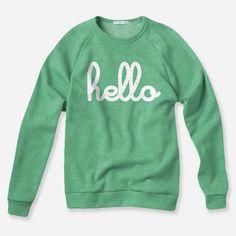 Hello (Adult) Green Champ Pullover Sweatshirt