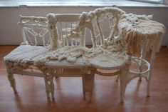 Knitting Furniture Together interior design, chair covers, funky chairs, knit chair, olivia lee, art, bomb, crocheted animals, knit furnitur