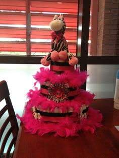 Hot pink zebra diaper cake