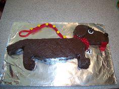 Weenie dog cake