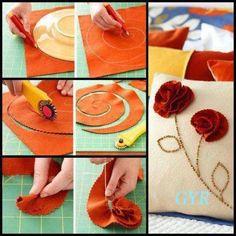 . rose, idea, cozy homes, diy crafts, craft projects, flower tutorial, diy pillows, felt flowers, fabric flower