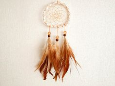Dream Catcher - Indian Summer - With Natural Brown Feathers, Sparkling Pearls, Orange Nett and White Frame - Home Decor, Mobile  #photo #photography #art #dream #dreamy #dreamcatcher #catcher #catcer #feather #feathers #love #lovely #white #awesome #beautiful #bird #fly #birds #hippie #hipster #native #american #dreamer #bohemian #nice #unique  #child #children #childhood #gift #idea #craft #crafy #inspiration #cradle #bedroom #houseware #orange #yellow #autumn #fall #sparkling $24