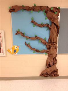 student, bulletin board tree, leav, third grade bulletin board