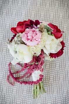 Bridal bouquet deep red, pink and white. Photography By / http://theomilophotography.com,Planning Design By / http://cometogetherevents.com