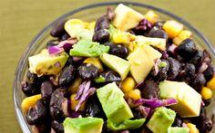 Black Bean Salad with Avocado, Corn and Red Cabbage Recipe #vegan #gluten_free