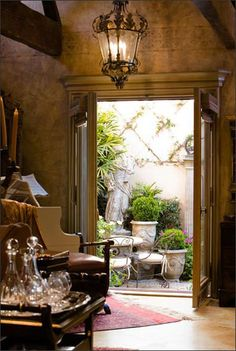 the doors, interior, light fixtures, dream, french country decorating, little gardens, indoor outdoor, patio, room