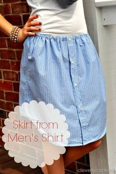 From Shirt to Skirt - this would be so great for gaudy thrift store shirts!