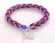 Patriotic Red, White, and Blue Woven Bracelet with Flag Charm, Rainbow Loom USA Bracelet, Patriotic Friendship Bracelet