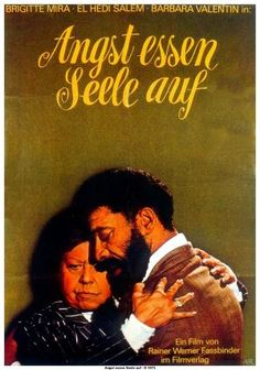 Fear Eats the Soul (Rainer Werner Fassbinder, 1974), inspired by the melodramas of Douglas Sirk, a young Moroccan man and a much older German woman fall in love and face family and social prejudice. Find this at 791.43743 FEA