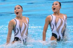 Japan's Chisa Kobayashi and Japan's Yukiko Inui compete in the duets free routine final during the synchronized swimming competition at the London 2012 Olympic Games on Aug. 7, 2012.
