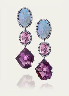 Earrings @ Tamsen Z Crystal Opal, Kunzite  Amethyst Earrings