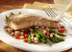 White Beans with Asparagus, with Fish