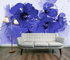 Indigo Poppies wall mural from DigetexHome.