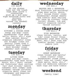 Weekly Cleaning Plan