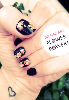 fall nail, floral nail, painted flowers, nail arts, flower power