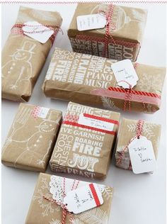 Trader Joe's paper bag gift wrap...cute!!