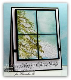 christma card, christmas cards, card idea, frame, stamp thyme, how to stamp cards, thyme pet, window panes, window christma