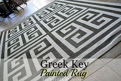 How to Make a Painted Greek Key Rug!!