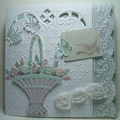 Pretty flower basket desighn card, anja design, easter card, pretti flower, de mariann, paper, flower baskets, card de, mariann design