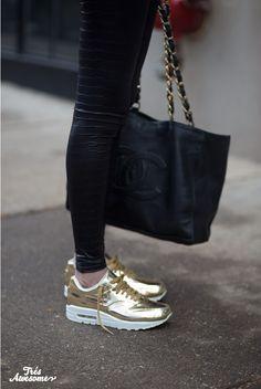 Nike Air Max 1 in Liquid Gold #Chanel #nike #liquidgold