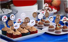 Homemade cupcakes with custom picks by Blush Printables