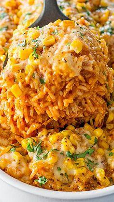 Chicken Enchilada Rice Casserole | chicken dinner ideas, comfort food recipe