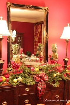 Christmas dining room buffet..pink walls!