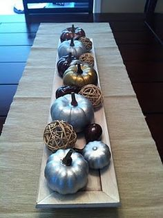 Metallic table decorations, idea, spray, fall table, painted pumpkins, fall weddings, table centerpieces, fall theme, halloween