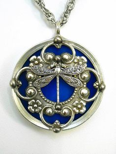 Stained Glass Dragonfly Pendant Necklace