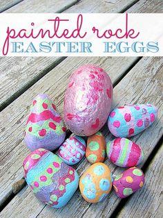 "Rock Easter ""eggs"" don't break. Cute idea for outdoor decor."