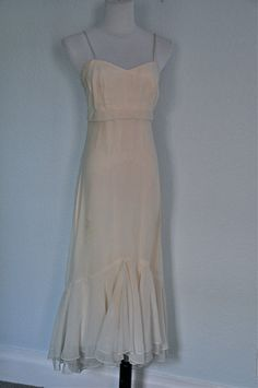 1970s empire waist ivory dress via Etsy