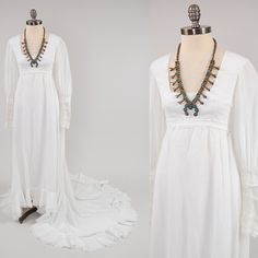 Vintage 70s white bohemian hippie Wedding by digvintageclothing, $147.00