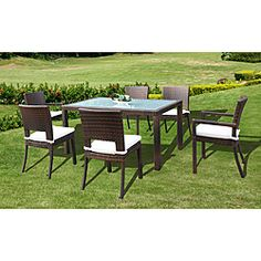 @Overstock - Boasting durable powdercoated aluminum frames covered with woven all-weather resin wicker, this Largo dining set includes a rectangular glass-top dining table with two arm chairs and four side chairs. This patio furniture includes cream seat cushions.http://www.overstock.com/Home-Garden/Largo-All-weather-Espresso-Resin-Wicker-7-piece-Dining-Set/6050449/product.html?CID=214117 $909.99