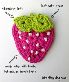 Free Crochet Pattern...Summer Strawberry Applique! Welcome warm weather with this pretty and colorful applique.  Spruce up a bag, hat or .... ☀CQ #crochet #applique http://pinterest.com/CoronaQueen/crochet-applique-corona