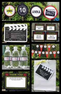 Movie Party Invitation & Printable Collection, EDITABLE text PDF file - you personalize at home with Adobe Reader