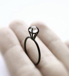 Herkimer Diamond Ring / Mirta  #modern #minimalist #unconventional #wedding #engagement #ring