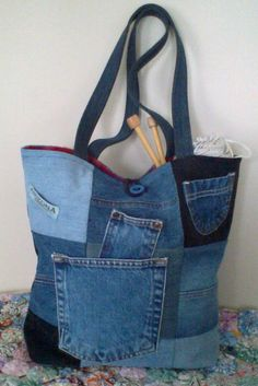 Recycled Denim Tote Bag.  Large  5 pockets grocery tote by ripnrollrugs