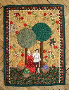 "Polish folk art quilt. ""Harvest Time""."