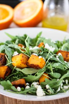 butternut squash, orang vinaigrett, healthy salads, roast butternut, oranges, ginger orang, arugula salad, goat cheese, vegetarian foods