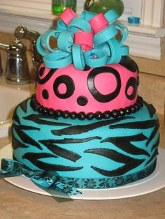 Zebra and Polka Dot Cake | zebra print and polka dots fondant cake — Birthday Cakes
