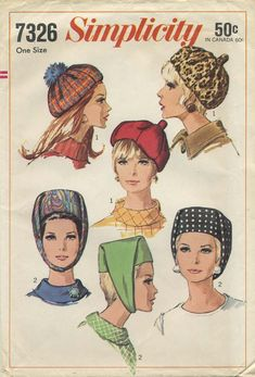 Vintage Hat Sewing Pattern | Simplicity 7326 | Year 1967 | One Size