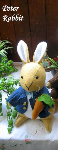 Beatrix Potter Peter Rabbit Doll Felt by dollsandbunnies on Etsy
