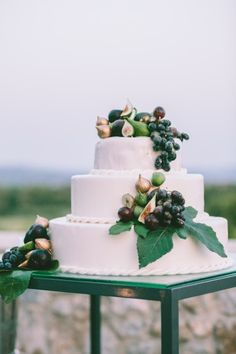 Mediterranean style cake topped with figs and grapes: http://www.stylemepretty.com/destination-weddings/2014/09/29/old-world-romance-at-costa-navarino-resort/ | Photography: George Pahountis - http://www.wedshooter.gr/