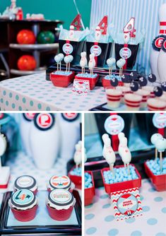 bowling pin + ball cake pops, number lollipops