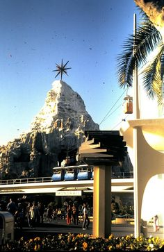 Disneyland 1972, with the Christmas star atop the Matterhorn