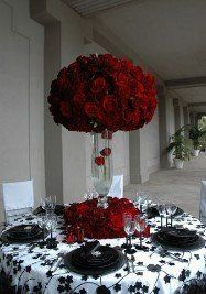 redblack, wedding receptions, black weddings, black white, the bride, red roses, centerpieces, flower, red black