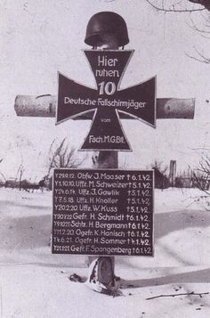 """Here lies 10 German Fallschirmjager"" (paratroops)"