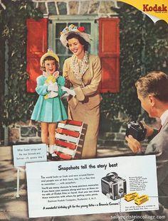 family holiday, easter, 1950s calendar, kodak camera, vintage