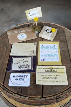 rustic wedding paper.... Love the telegram for the vintage travel theme!