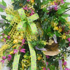 XL Cheerful Spring and Summer Door Wreath with double bow LadybugWreaths, $219.97
